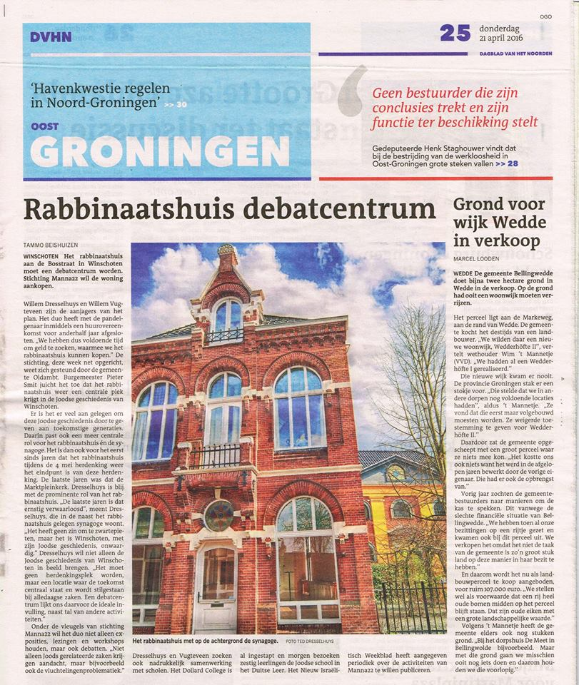 dagblad van het noorden rabbinaat manna22